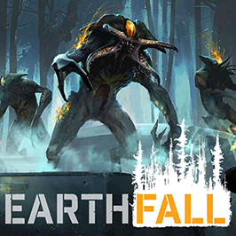 Earthfall, three creatures in the foggy and dark woods