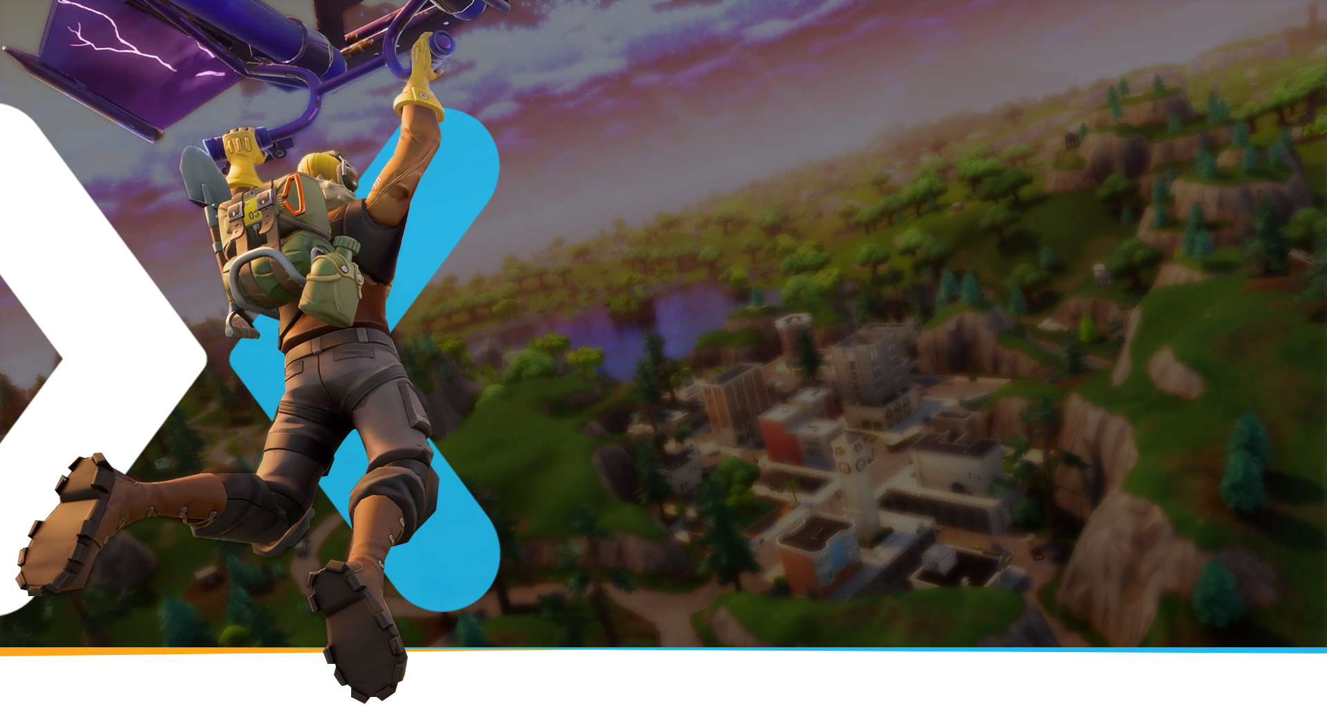 Backside view of a Fornite character holding onto a glider, about to land near a town
