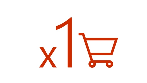 Shopping cart with 1× beside it