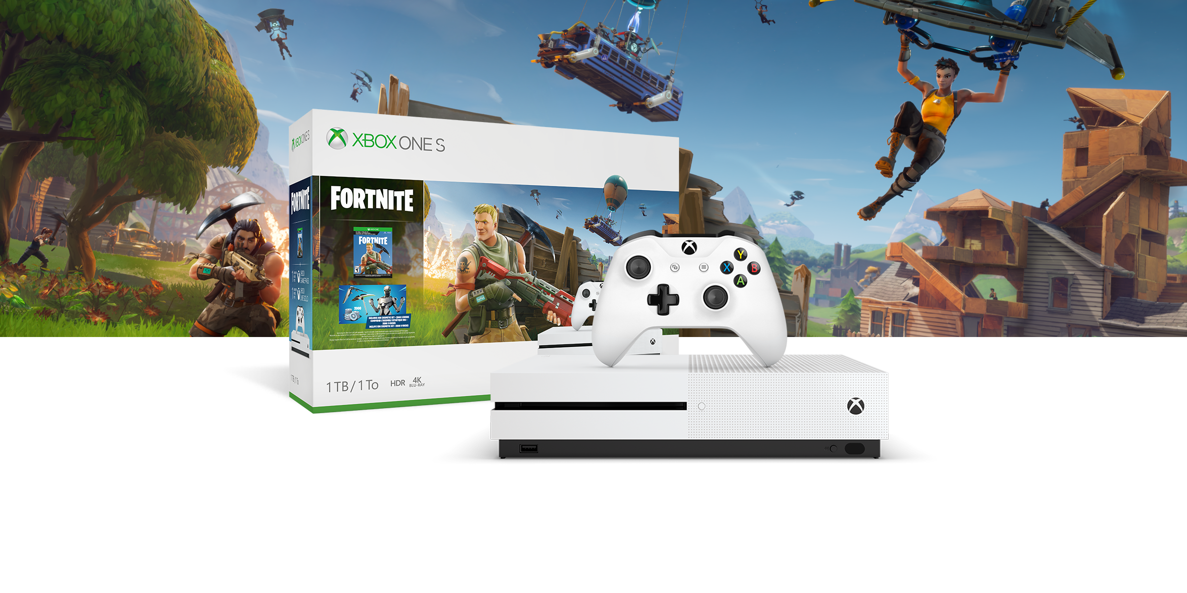 Xbox One S Fortnite Bundle box art in front of background