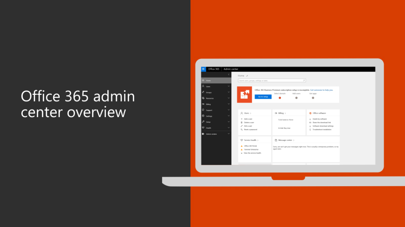 Overview of the new Office 365 admin center