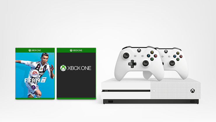 FIFA 19 game, Xbox One S and 2 Xbox controllers in white