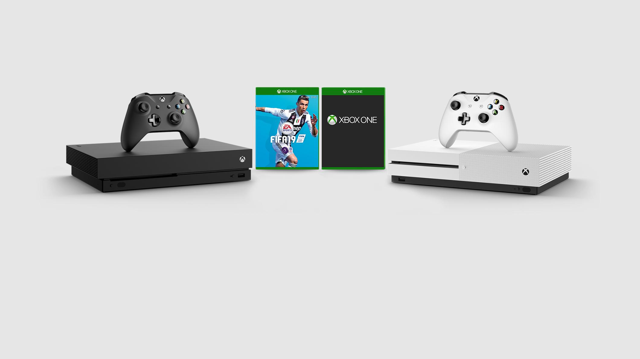 Xbox One S console, Xbox One X console. FIFA 19 game