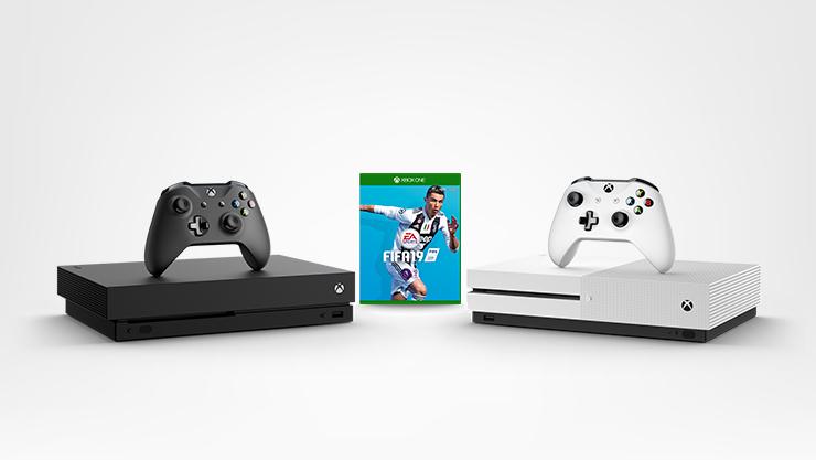 Xbox One X Konsole und Xbox One S Konsole mit FIFA 19