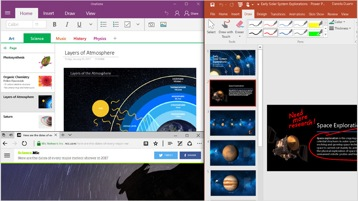 Две расположенные рядом страницы на экране устройства с Windows 10.