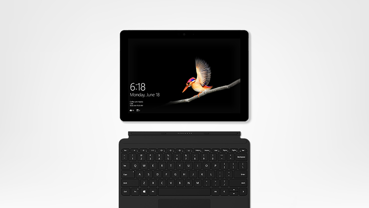 Surface Go with black Type Cover top down view
