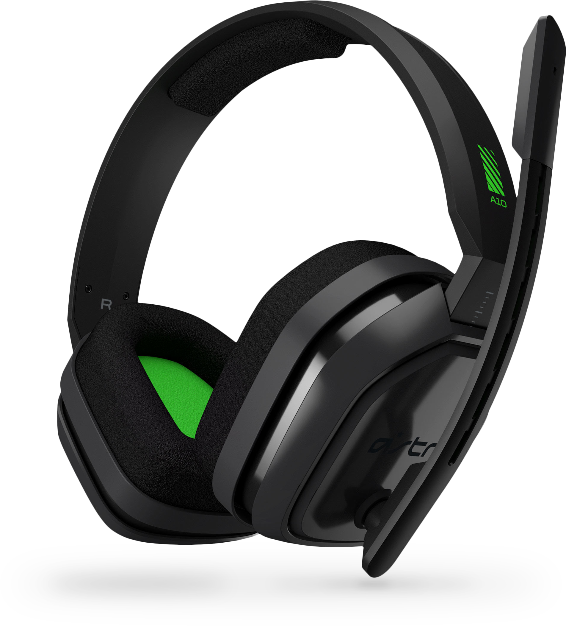 Logitech A10 Headset for Xbox One (Grey/Green) from a left angle