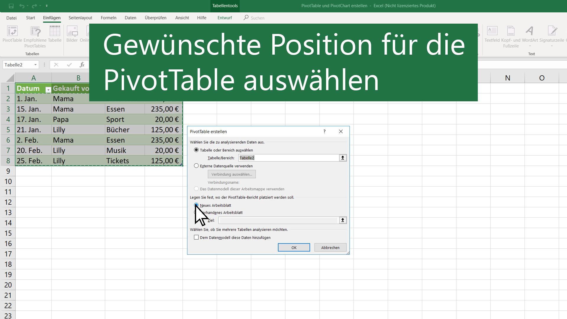 Erstellen einer PivotTable zum Analysieren von Arbeitsblattdaten ...