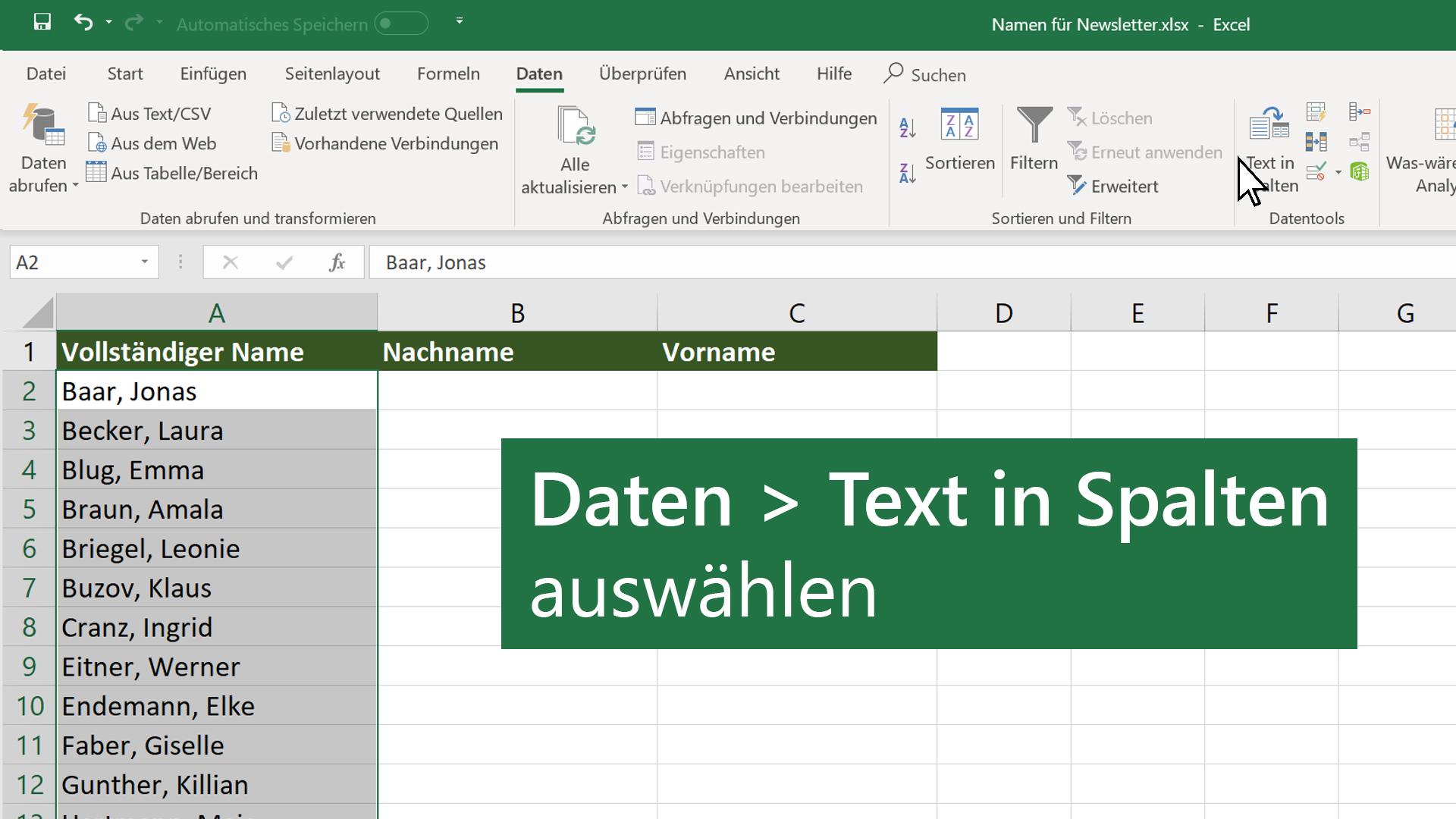 Video: Aufteilen und Kombinieren von Daten - Excel