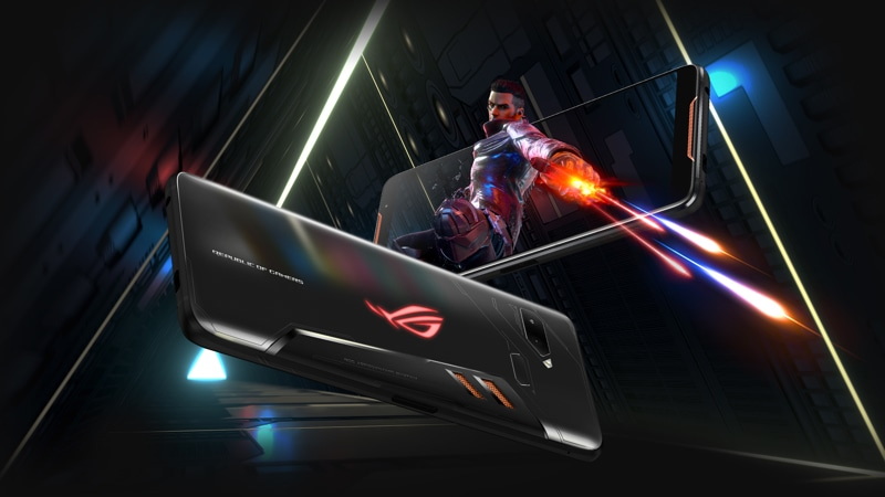 Rear and front views of the Asus ROG phone