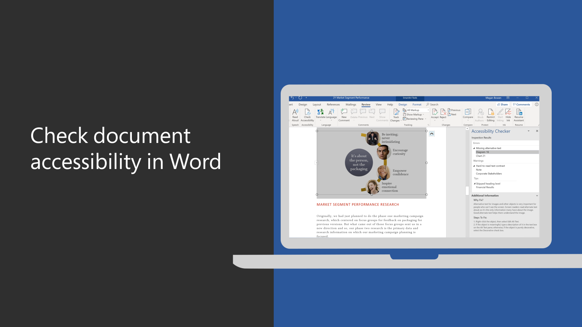 Find and fix accessibility issues in a Word document
