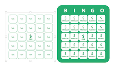 Kids Budget Bingo PowerPoint slide showing a Bingo card