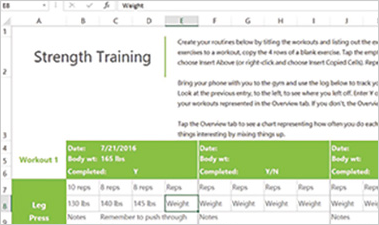 Fitness Tracker Excel spreadsheet showing strength training workouts and tracking data
