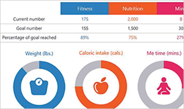 Fitness Vision Excel spreadsheet showing categories for tracking fitness and nutrition