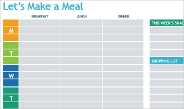 Let's Make a Meal Word document showing fields for a weekly shopping list and planning for breakfast, lunch, and dinner