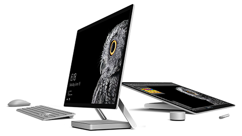 Surface Studio in desktop and studio mode.