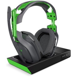 Left front view of Logitech A50 wireless headset for Xbox One on its base station