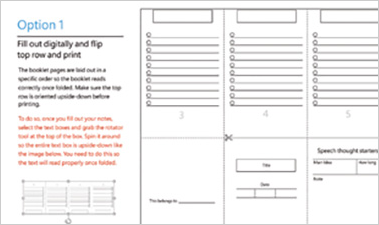Pocket Speech Planner PowerPoint slide showing foldable booklet for notes