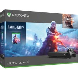 Consola Xbox One X frente a una caja de hardware con arte Battlefield V