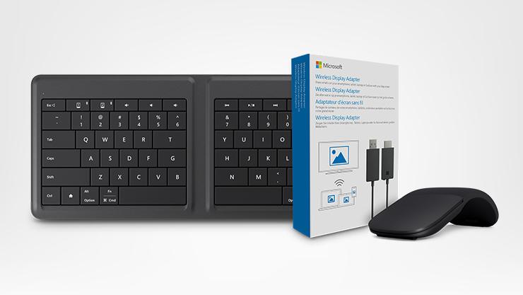 Microsoft Arc Mouse, Wireless Display Adapter, Microsoft Universal Foldable Keyboard