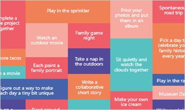 Family Bucket List PowerPoint slide showing list of fun activities