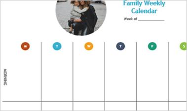Weekly Calendar Word doc showing a blank calendar page