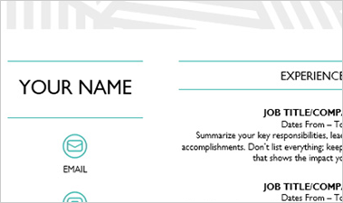 Resume Word template showing fields for name and job titles