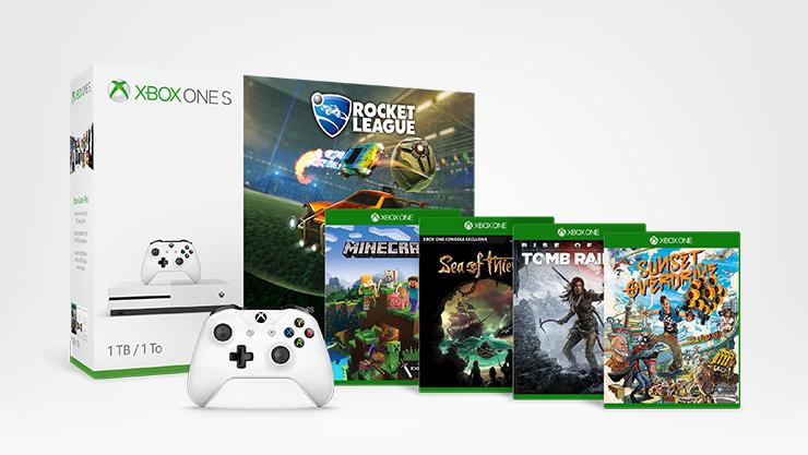 Pack Aventure Xbox One S avec deux manettes, Rocket League + 4 jeux Xbox supplémentaires