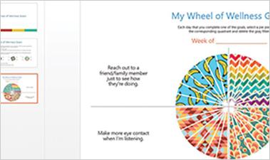 Wellness Wheel PowerPoint slide showing my wheel of wellness goals