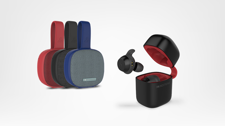 A selection of Soundstream speakers and wireless earbuds