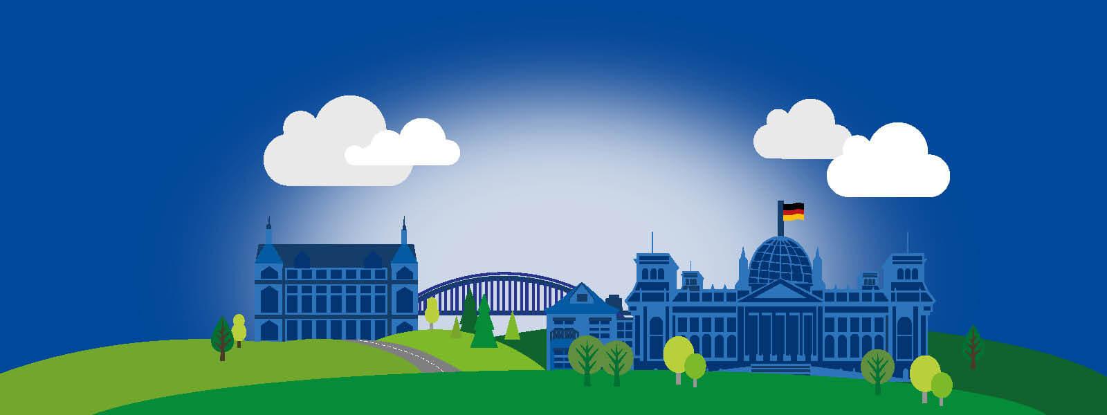 Illustration des deutschen Bundestags. Microsoft Azure, Office 365 und Dynamics 365