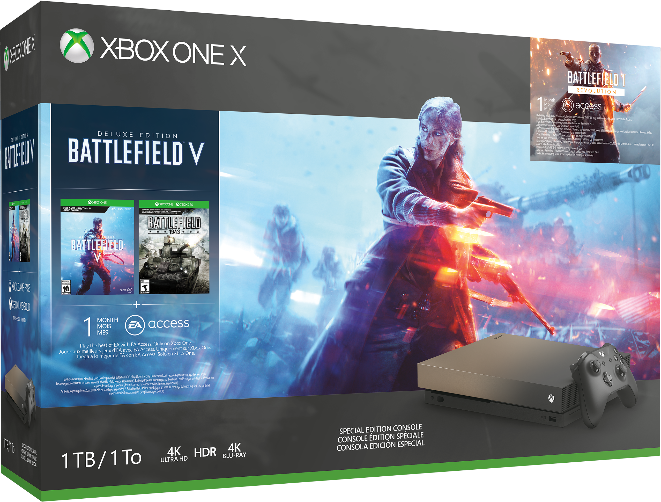 Xbox One X Gold Rush Special Edition Battlefield V bundle box art