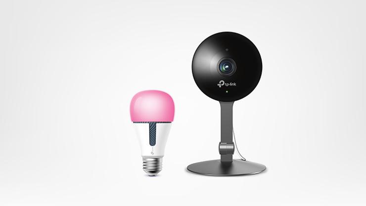 A TPLink Kasa Smart Home lightbulb and webcam