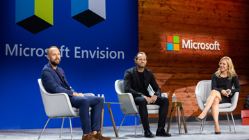 Alysa Taylor in discussion with Daniel Hansson and Stefan Anjou on the main stage at Microsoft Envision