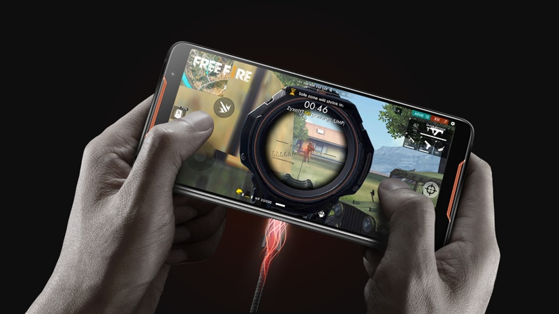 Asus ROG phone being used for gaming while charging