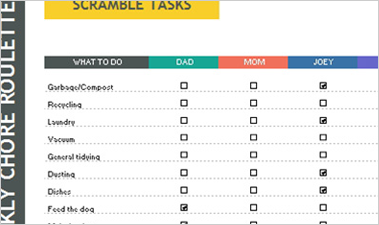 Weekly Chore Roulette Excel spreadsheet showing a checklist of weekly tasks and family members