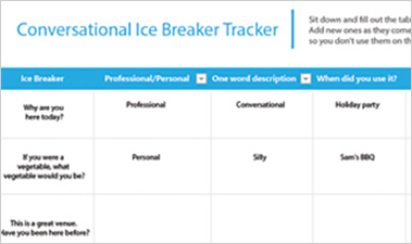 Ice Breakers Tracker Excel spreadsheet showing a list of conversational ice breakers and when used