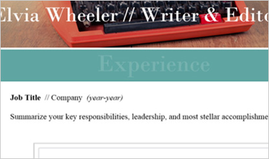 Sway templates for digital resume showing fields for name, summary, and job title