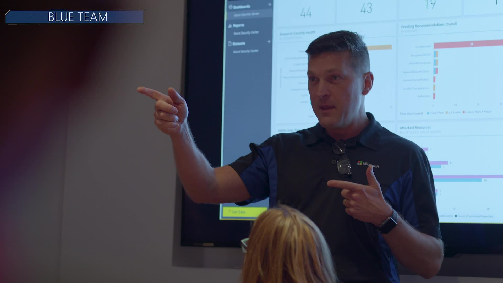 """Still image from video showing a person at the front of the room giving a presentation in front of a large screen with various charts on it. The words """"Blue Team"""" appear on the top left corner of the image."""