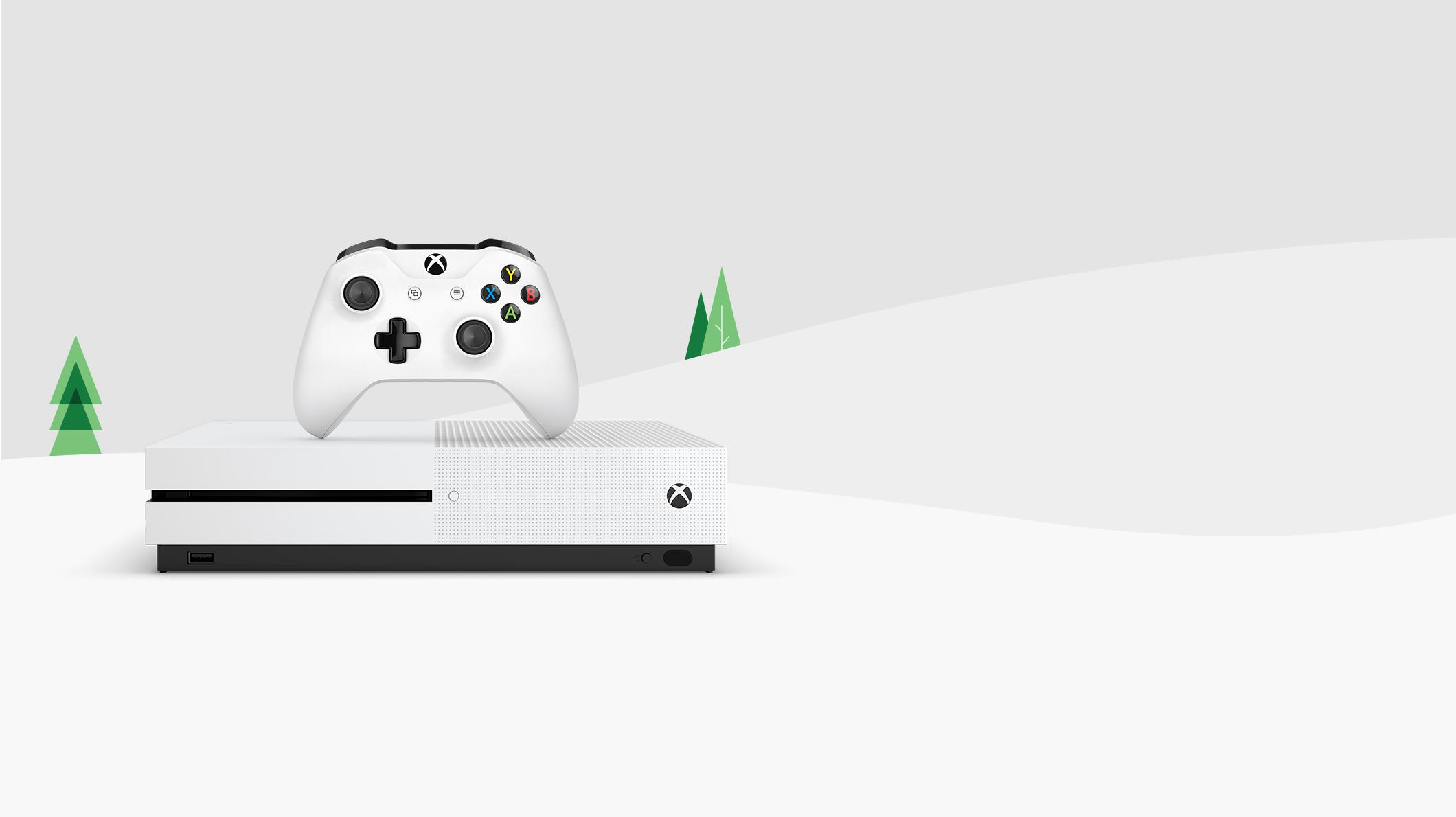 Xbox One S konzol és egy kontroller