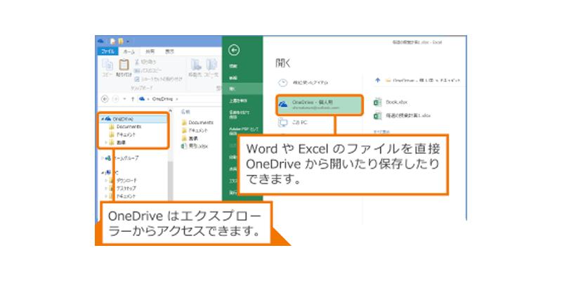Word や Excel のファイルを直接 OneDrive から開いたり保存したりできます。 / OneDrive はエクスプローダーからアクセスできます。