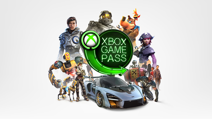 The Xbox Game Pass logo surrounded by illustrated characters