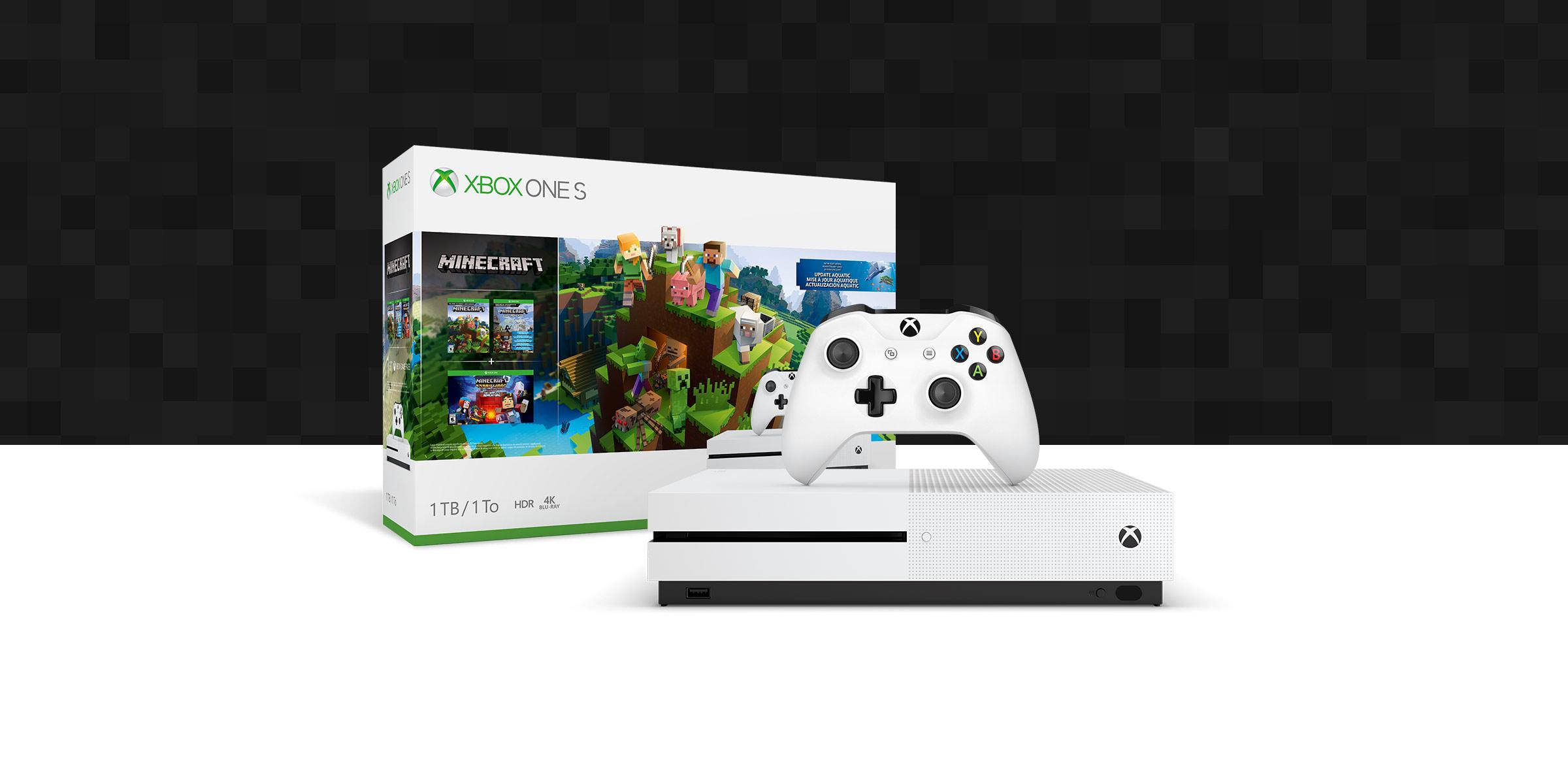 Consola Xbox One S delante de una caja del pack de hardware con una imagen de Minecraft
