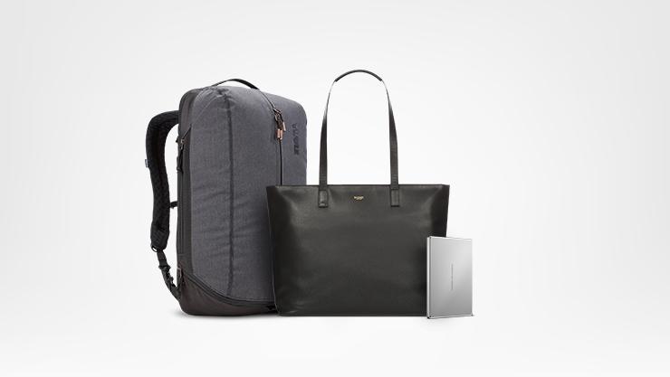 Rucksack, Tasche und externe Festplatte