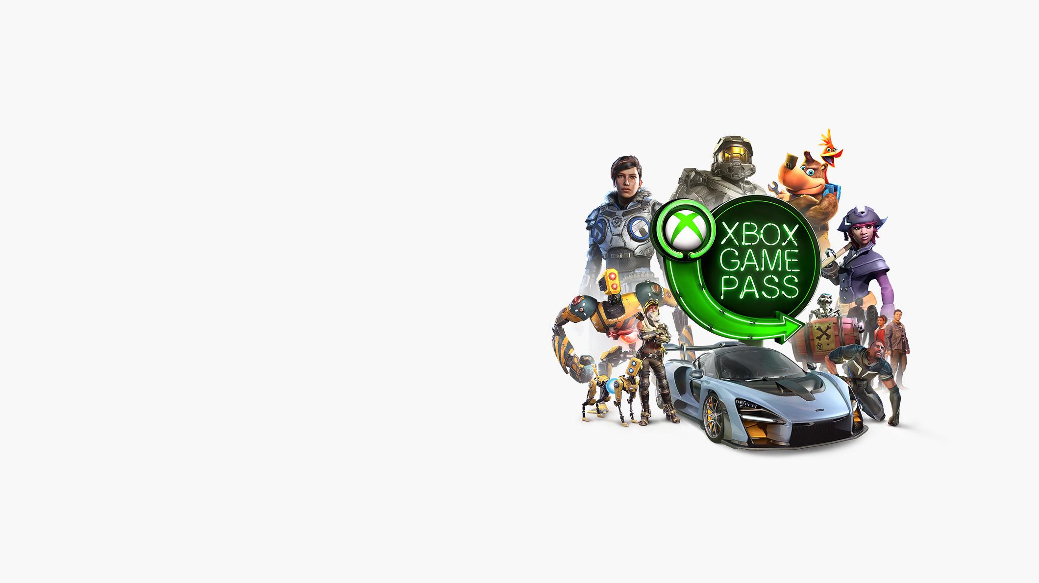 شعار Xbox Game Pass وحوله شخصيات رسومية