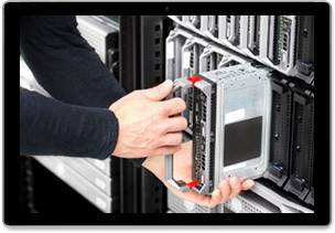 Photograph of person inserting a module into a stack