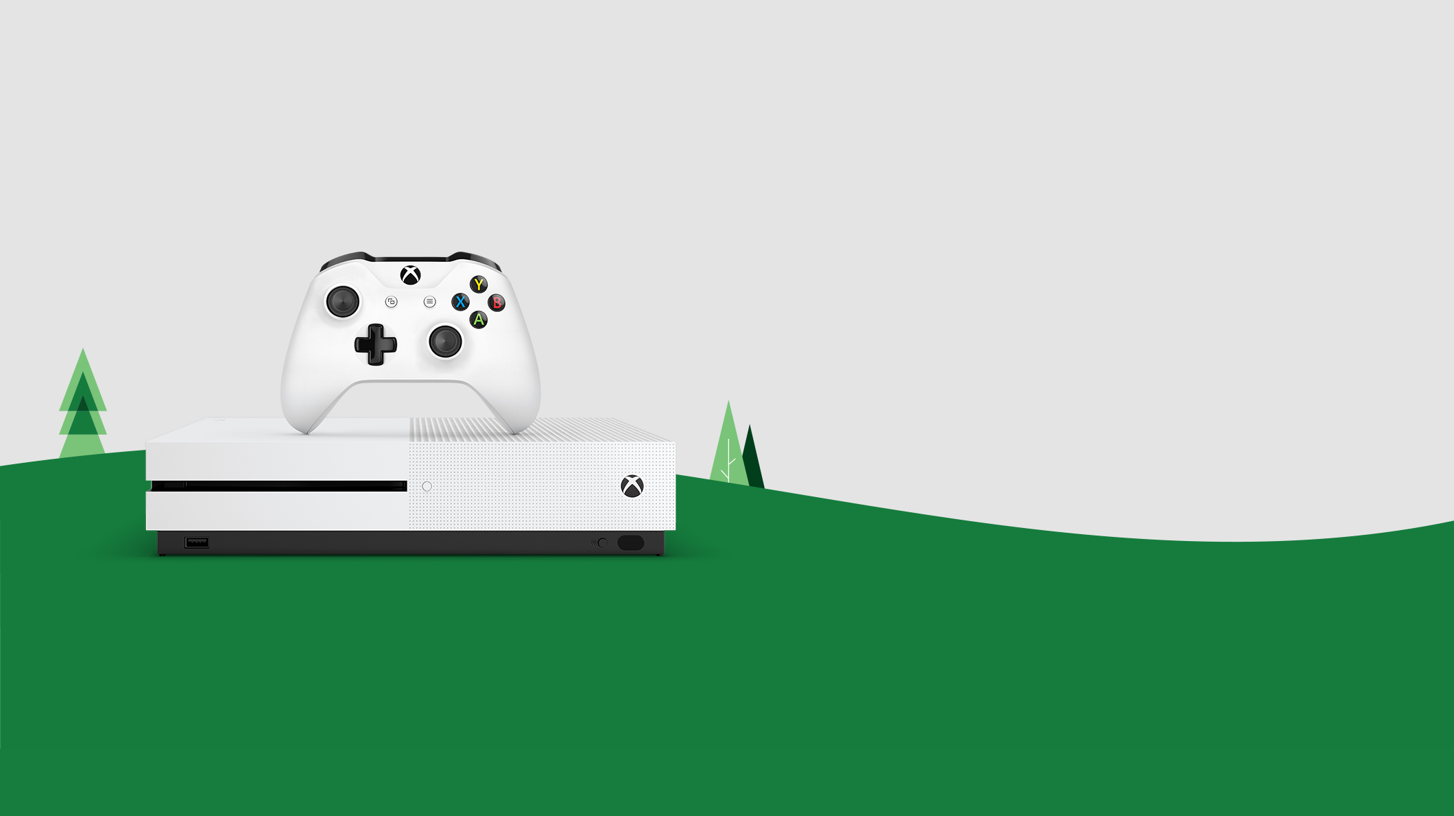 An Xbox One S and controller