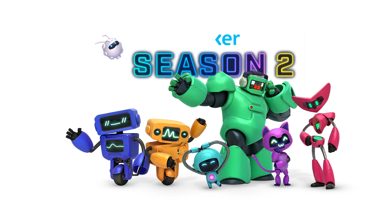 Mixer Season 2, several colorful robots standing around the neon Mixer Season 2 sign