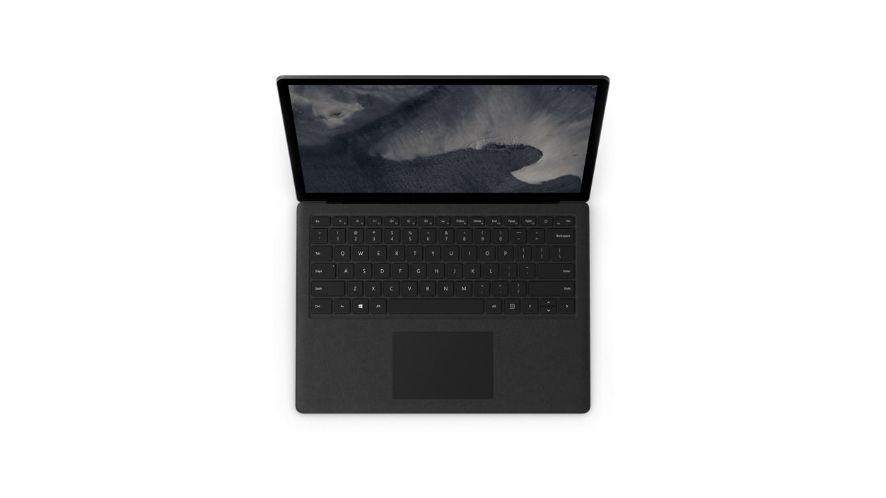 Top down view of black Surface Laptop 2