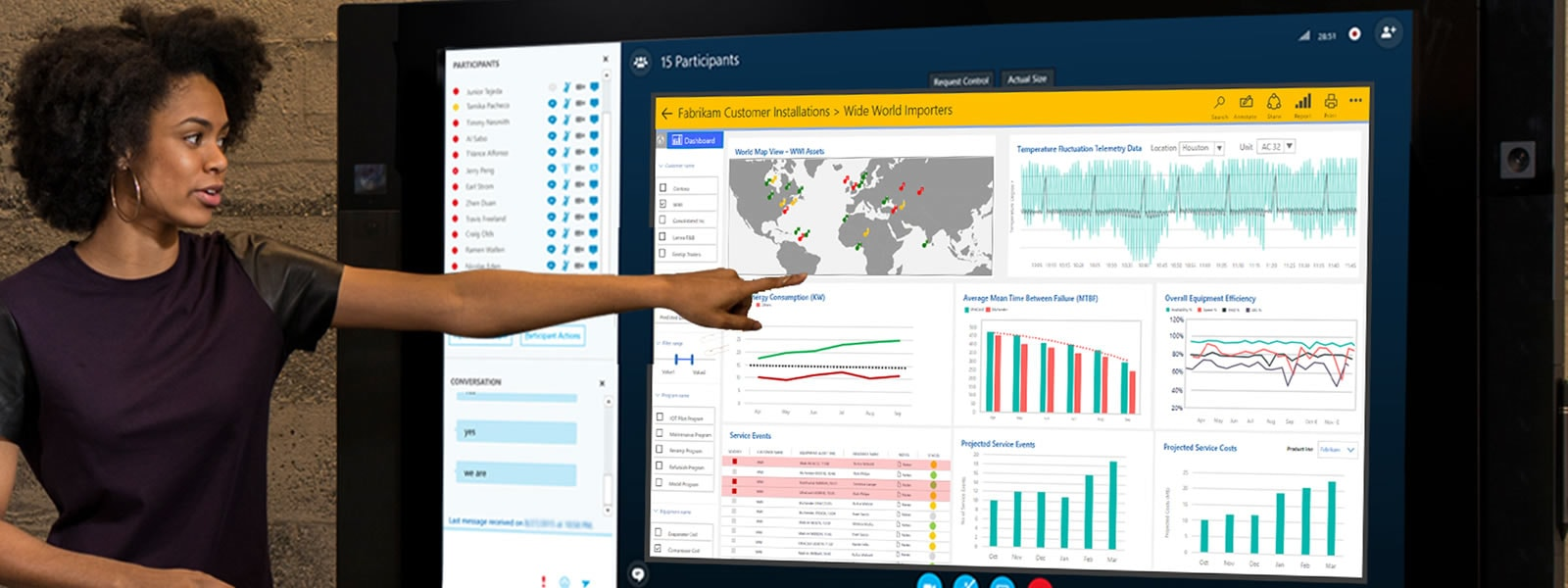 female pointing to data charts on large monitor during Skype meeting